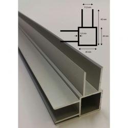 Alu Vier-Kantprofil mit 4x20 mm Stege L