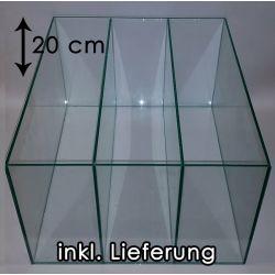 TRANSPARENT Aquarium für Kallax Regale mit 2x Trennscheibe (20 cm)